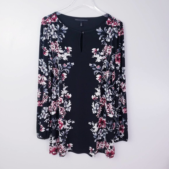 WHBM Floral Print Long Sleeve Tunic Top Large